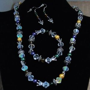 Glass Crystals AB Necklace Bracelet Earrings SET